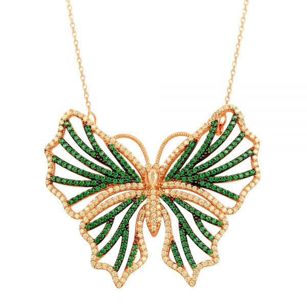 Green Butterfly Silver Necklace