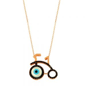 Bicycle Evil Eye Handmade 925 Sterling Silver Necklace