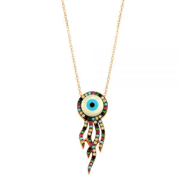 Octopus Evil Eye Handmade 925 Sterling Silver Necklace
