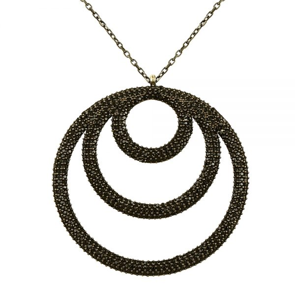 Black Circles Handmade Sterling Silver Necklace
