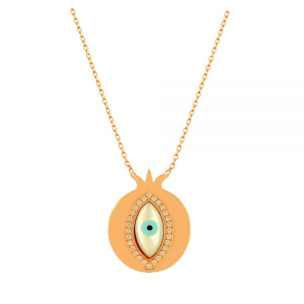Pomegranate Evil Eye Handmade 925 Sterling Silver Necklace