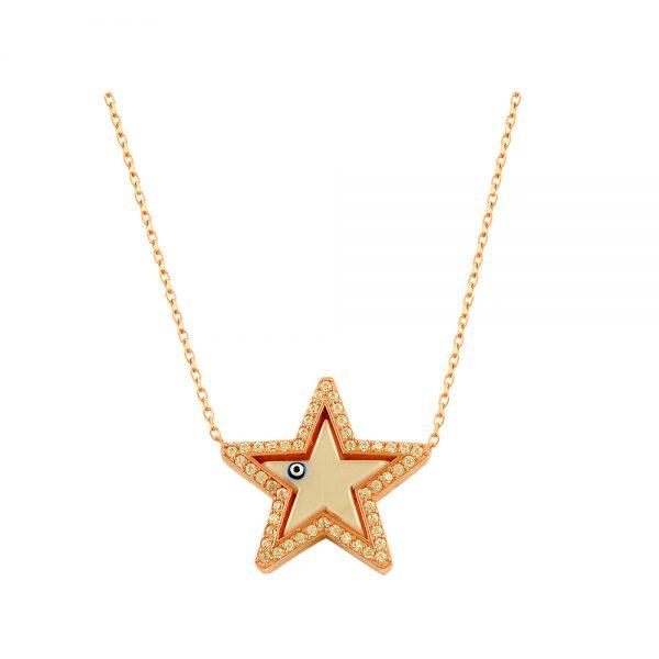 Little Star Evil Eye Handmade 925 Sterling Silver Necklace
