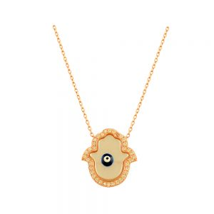 Hamsa Evil Eye Handmade 925 Sterling Silver Necklace