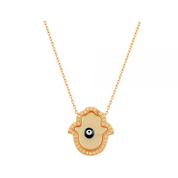 Hamsa Evil Eye Handmade 925 Sterling Silver Necklace