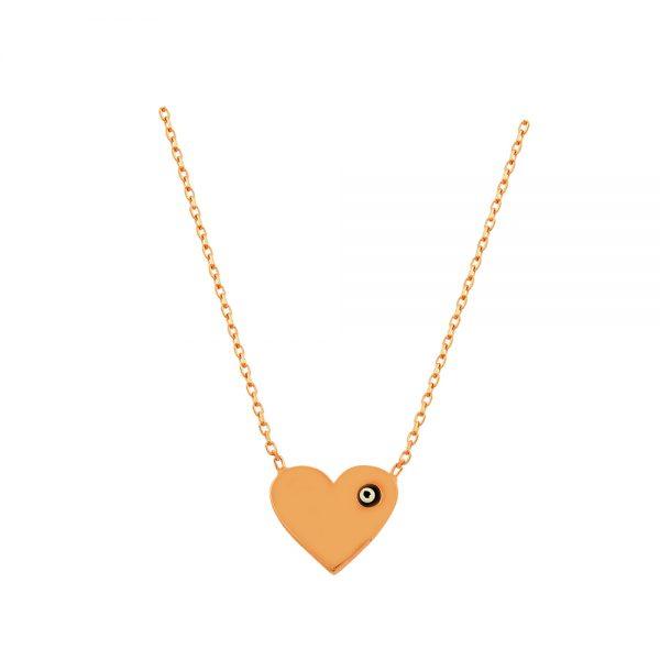 Heart Evil Eye Handmade 925 Sterling Silver Necklace