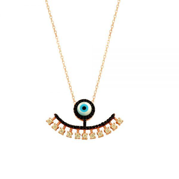 Black Evil Eye Handmade Sterling Silver Necklace 146