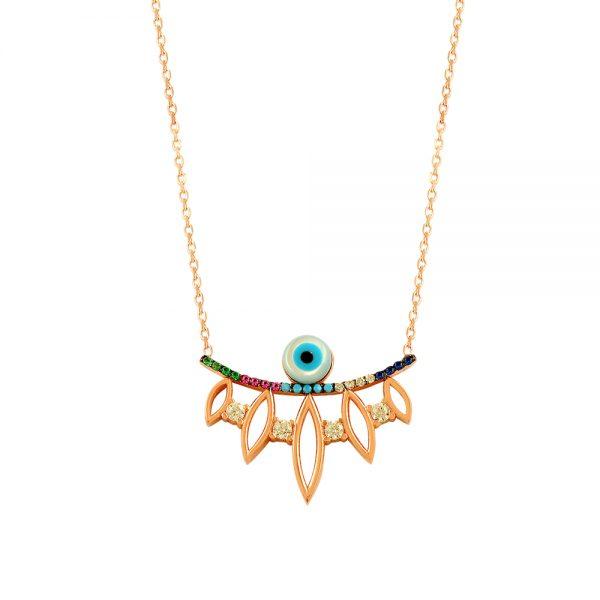 Drop Evil Eye Handmade Sterling Silver Necklace 148