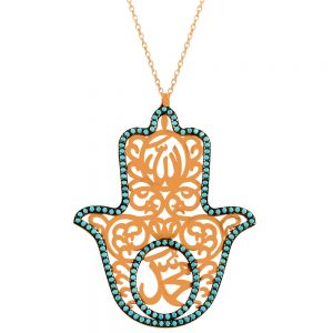 Blue Hamsa Handmade 925 Sterling Silver Necklace(14) (15)