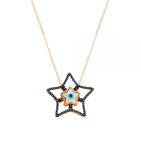 Stars Evil Eye Handmade 925 Sterling Silver Necklace
