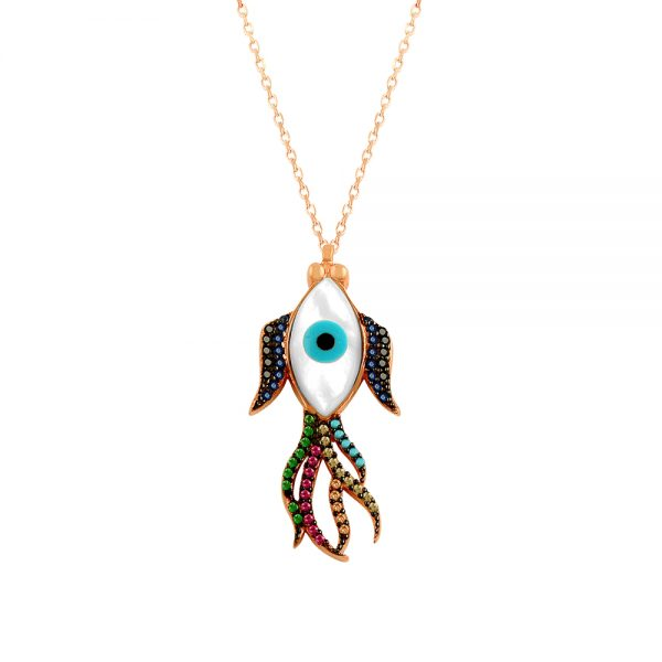 Fish Evil Eye Handmade 925 Sterling Silver Necklace