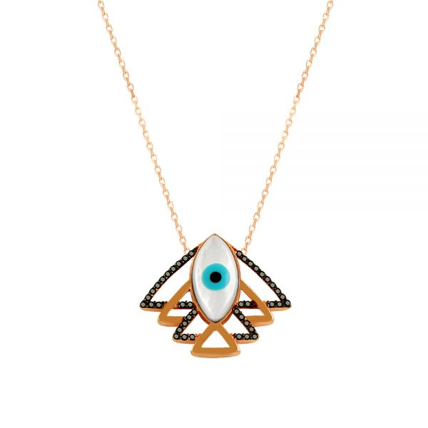 Fish Evil Eye Handmade 925 Sterling Silver Necklace