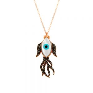 Black Fish Evil Eye Handmade 925 Sterling Silver Necklace