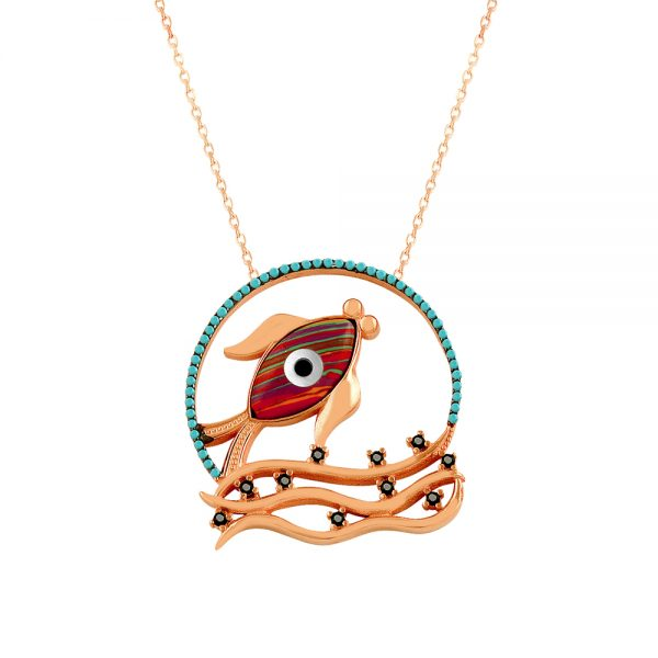 Red Fish Evil Eye Handmade 925 Sterling Silver Necklace