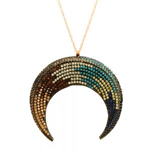 Colorful Moon Handmade Sterling Silver Necklace