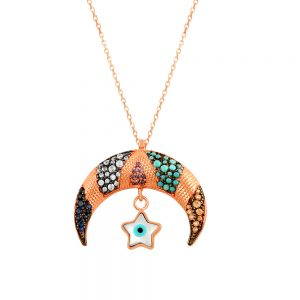 Moon and Star Evil Eye Handmade 925 Sterling Silver Necklace