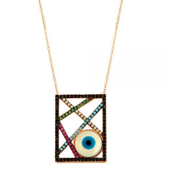 Evil Eye Handmade 925 Sterling Silver Necklace (85)