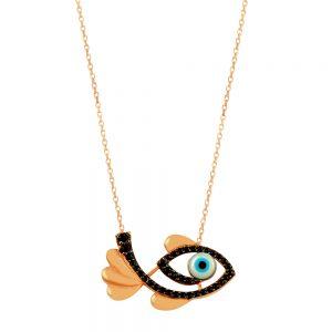 Fish Evil Eye Handmade Sterling Silver Necklace 98