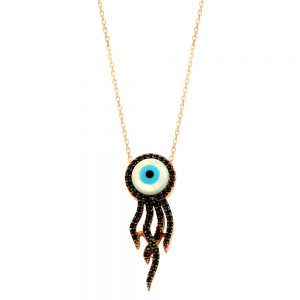 Octopus Evil Eye Handmade Sterling Silver Necklace 99