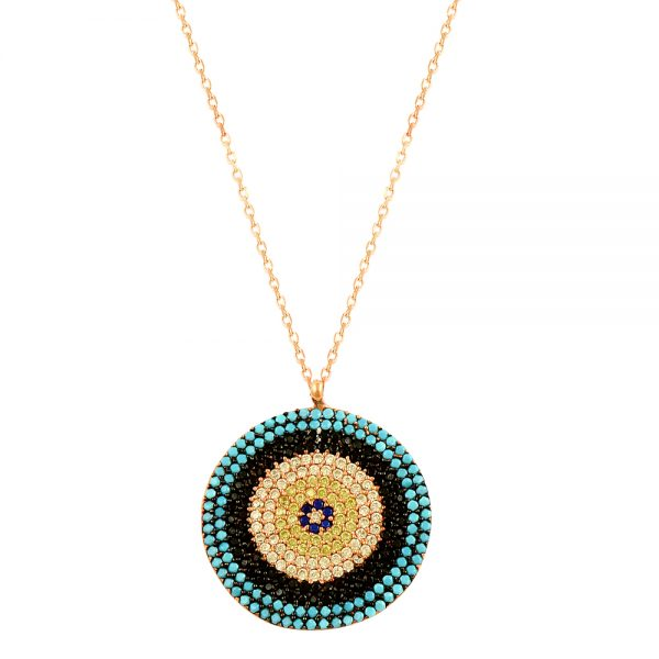 Blue Evil Eye Handmade Silver Necklace