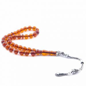 Baltic Amber Rosary Misbaha with 925 Sterling Silver Tassel