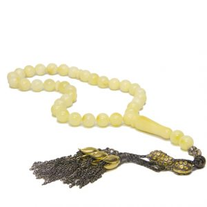 Milky Baltic Amber Rosary Misbaha with 925 Sterling Silver Limited Edition Tassel
