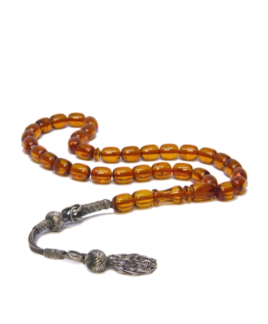 Baltic Amber Rosary Misbaha with 925 Sterling Silver Kazaz