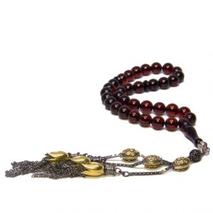 Cognac Baltic Amber Rosary Misbaha with 925 Sterling Silver Limited Edition Tassel