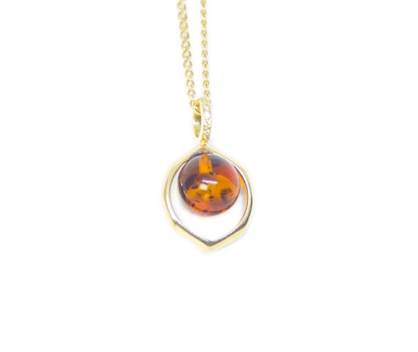 Ball Amber with gold and diamond