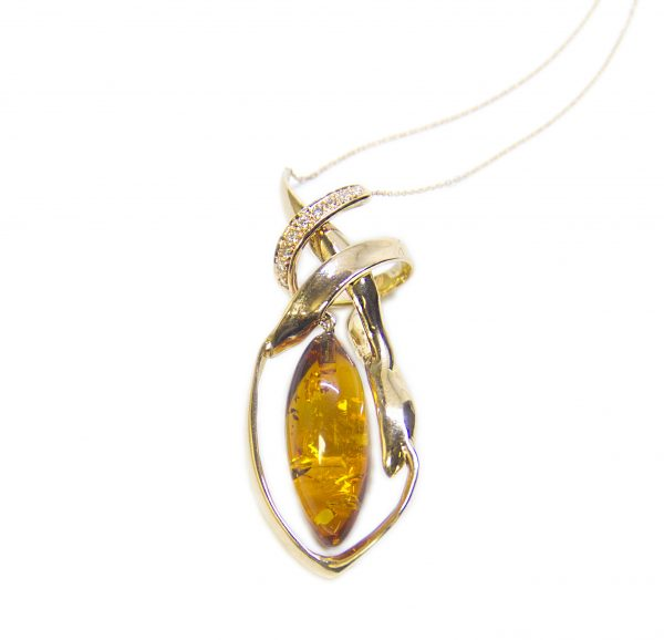 Amber with gold and diamond