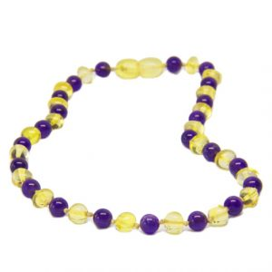 Amethyst Lemon Color Amber Necklace