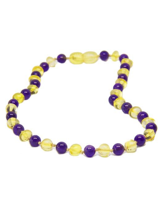 Amethyst Lemon Color Amber Necklace