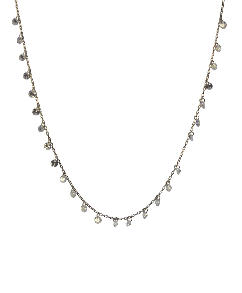 White Zircon Silver Necklace