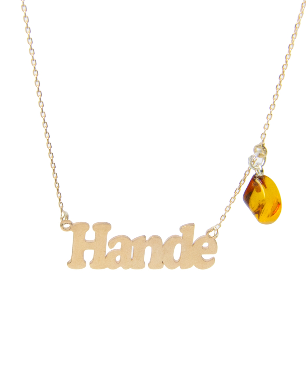 Custom Design Silver Name with Twist Amber Necklace