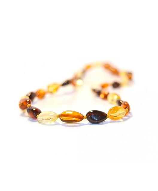 Multi Color Olive Shape Amber Necklace