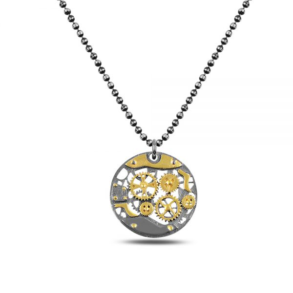 Round Gear Silver Necklace