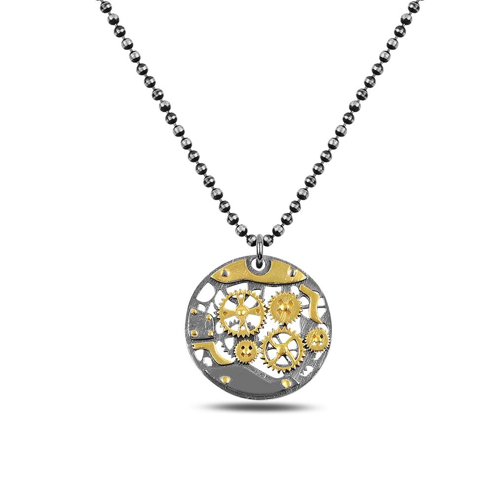 Round Gear Silver Necklace