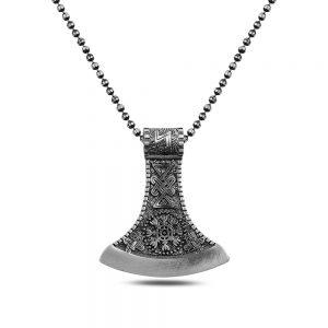 Gray Axe Silver Necklace