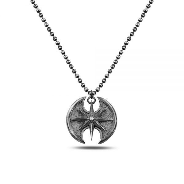 Double Axe Silver Necklace