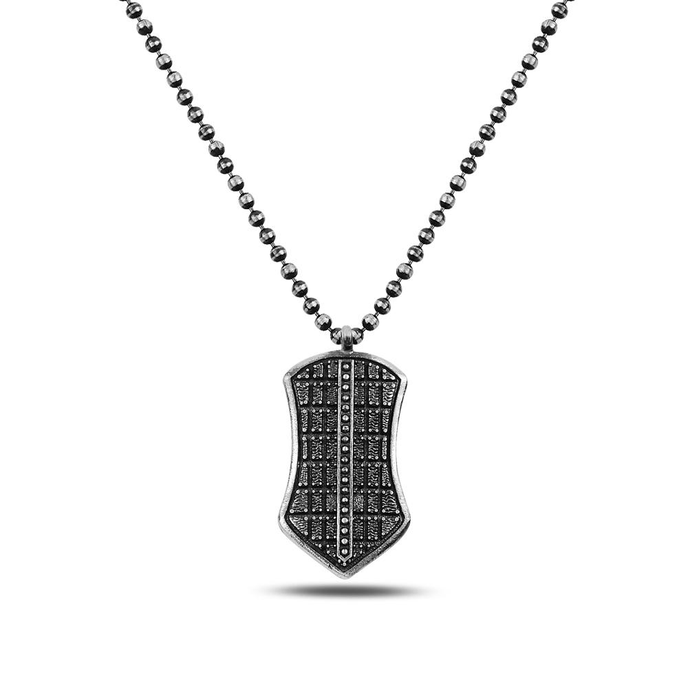 Gray Shield Silver Necklace