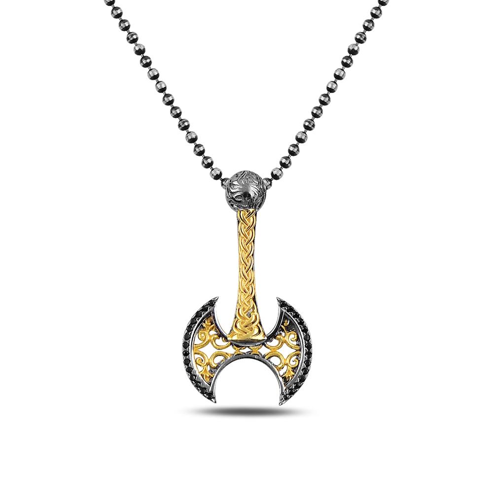 Gold Axe Silver Necklace