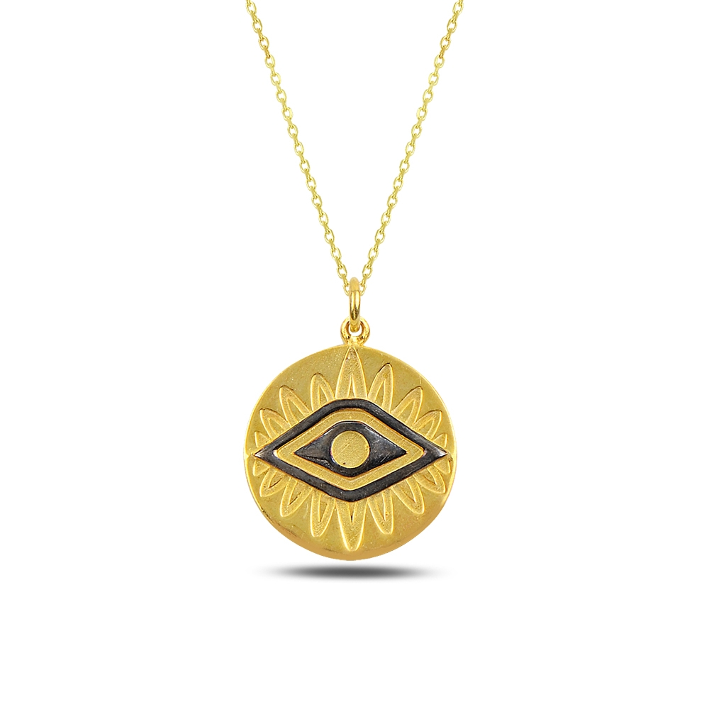Eye and Sun Silver Necklace