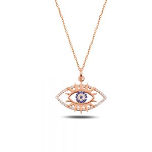 Evil Eye and Sun Silver Necklace