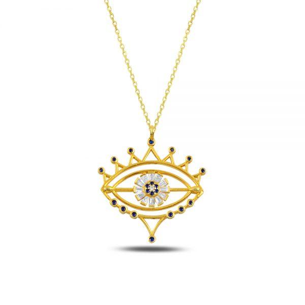 Ruby Eye Silver Necklace