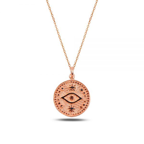 Antique Black Eye Silver Necklace