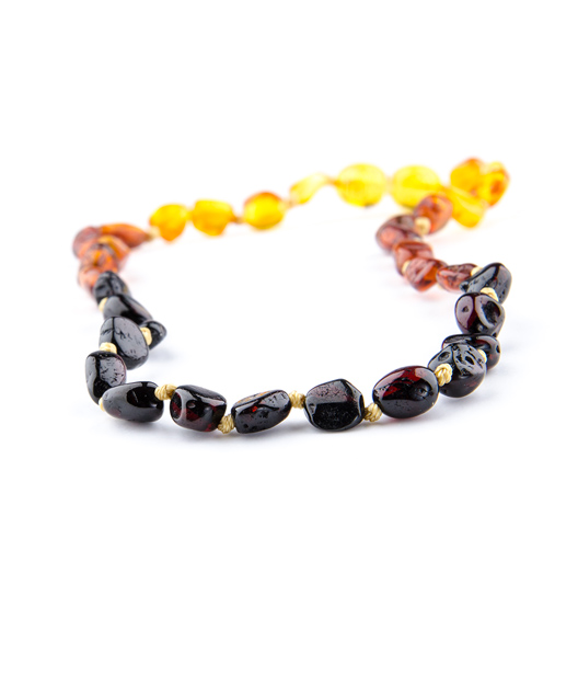 Rainbow Color Olive Shape Amber Necklace