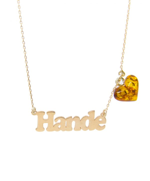 Custom Design Silver Name with Hearth Shape Amber Necklace