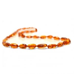 Cognac Color Olive Shape Amber Necklace