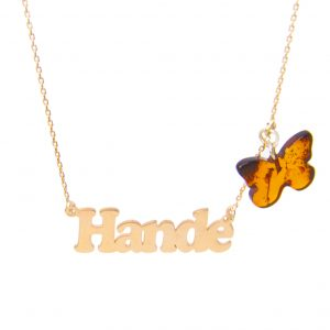 Custom Design Silver Name with Butterfly Pendant Amber Necklace