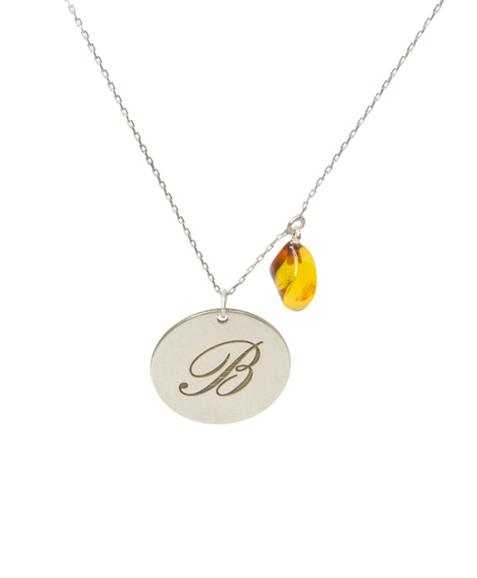 Custom Design Silver Letter with Water Drop Amber Necklace