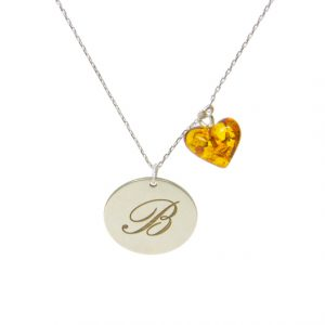 Custom Design Silver Letter with Hearth Shape Amber Necklace